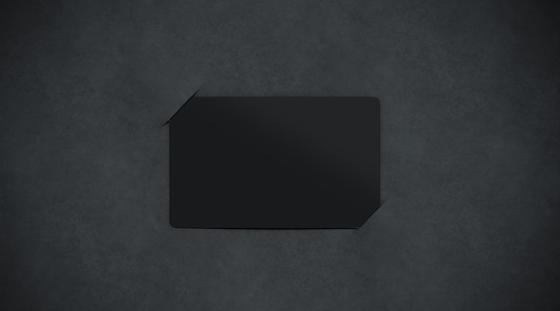 Porte-cartes papier noir blanc, vue de dessus, rendu 3d.