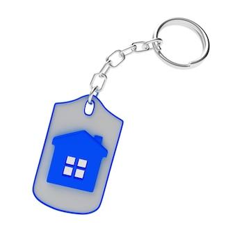 Porte-clés avec l'icône de la maison bleue