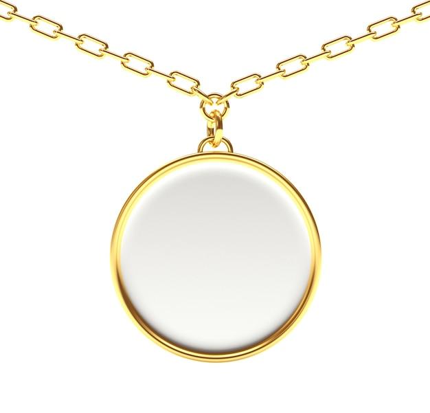 Porte-clés rond blanc sur une chaîne en or