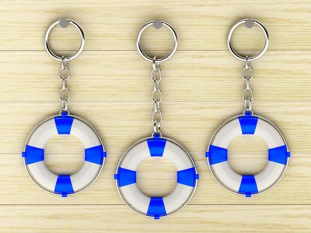 Porte-clés sous forme de bouées de sauvetage