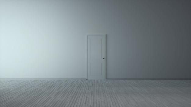 Porte de conception classique, fond intérieur blanc vide abstrait. illustration 3d.