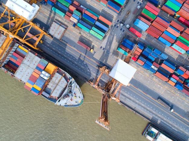 Porte-conteneurs dans l'exportation et l'importation des entreprises et de la logistique.