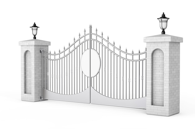 Porte décorative en acier avec piliers en brique et lumières sur fond blanc. rendu 3d