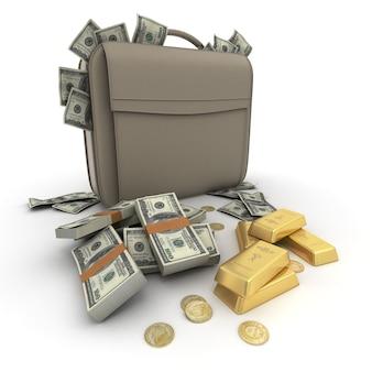 Porte-documents débordant de dollars et d'or