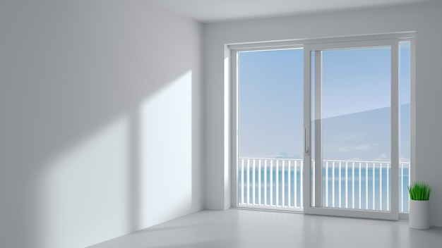 Porte extérieure coulissante avec deux volets blancs. espèce fenêtre panoramique et terrasse.
