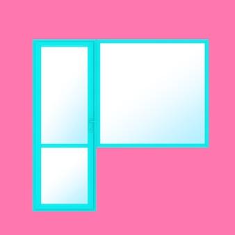 Porte et fenêtre de balcon en pvc en métal bleu en style bicolore sur fond rose. rendu 3d