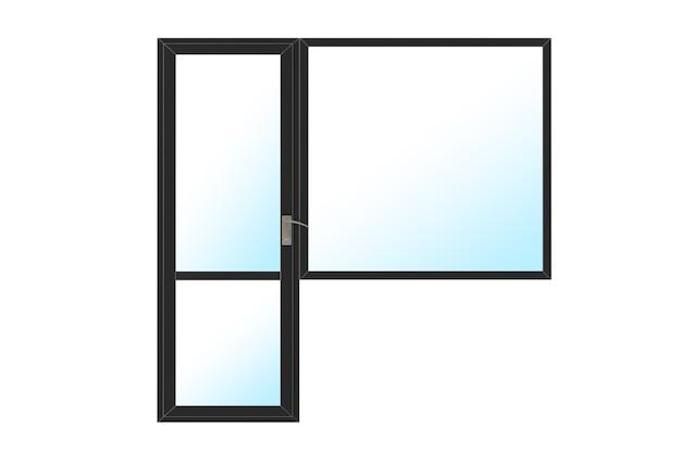 Porte et fenêtre de balcon en pvc en métal noir sur fond blanc. rendu 3d