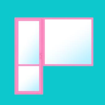 Porte et fenêtre de balcon en pvc en métal rose en style bicolore sur fond bleu. rendu 3d