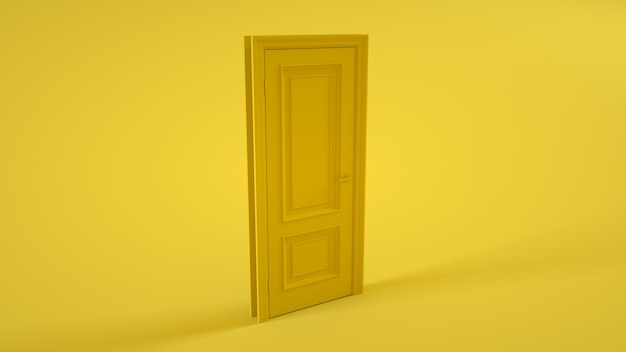 Porte fermée sur jaune. illustration 3d.