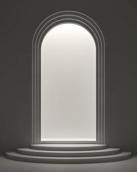 Porte en forme d'arche avec lumière à l'intérieur du rendu 3d pour le produit de vitrine