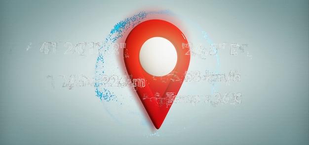 Porte-goupilles de rendu 3d sur un globe avec coordonnées