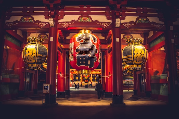Porte kaminarimon à la lumière de nuit du temple sensoji-ji - quartier d'asakusa, tokyo