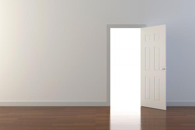 Porte avec lumière flare. conception d'arrière-plan 3d. rendu 3d.
