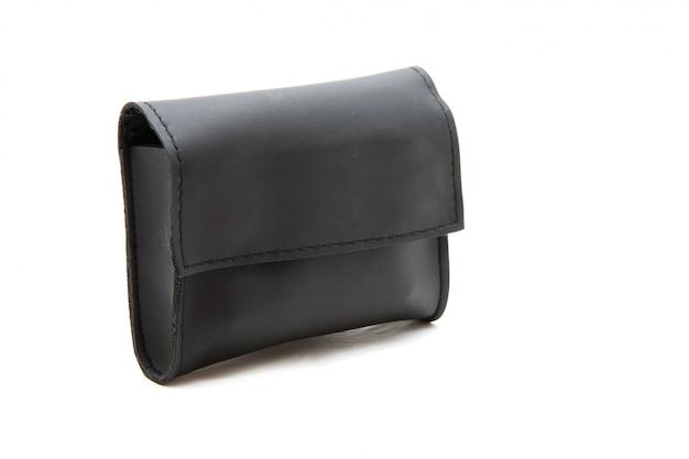 Porte-monnaie ou portefeuille en cuir noir isolé