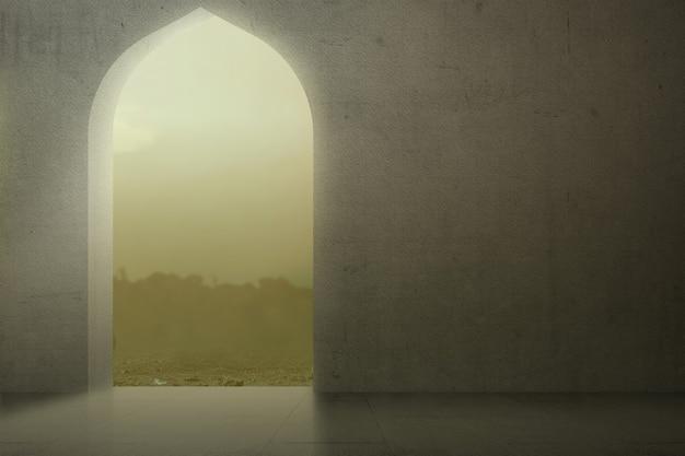 Porte de la mosquée avec un fond de ciel dramatique