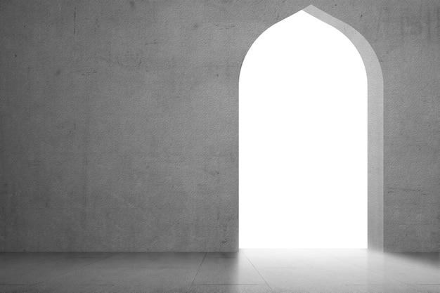 Porte de la mosquée isolée sur fond blanc