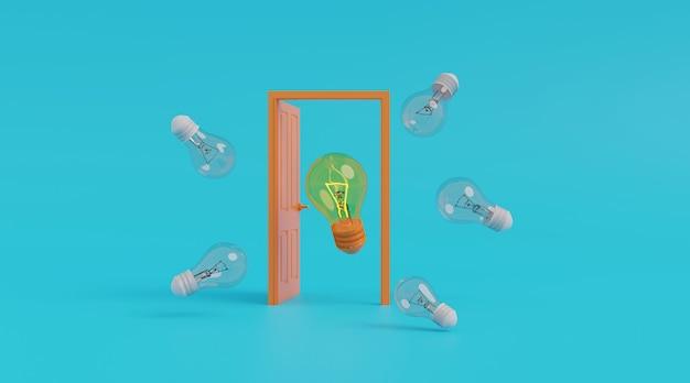 Porte ouverte avec ampoule.
