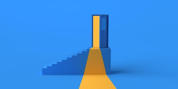 Porte ouverte dans les escaliers. espace de copie. illustration 3d.