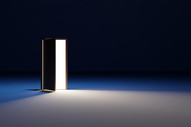 Porte ouverte à partir de laquelle la lumière blanche brille dans une pièce sombre avec des lumières blanches