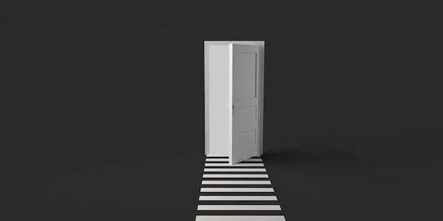 Porte ouverte avec passage pour piétons. espace de copie. illustration 3d.