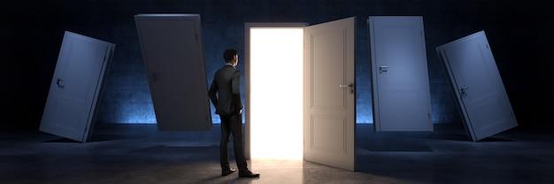 Porte et porte d'homme d'affaires à une nouvelle opportunité rendu 3d