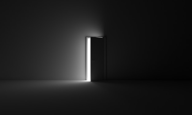 Une porte qui s'ouvre de l'obscurité de la pièce à la lumière symbole d'opportunité liberté sortie futur espoir
