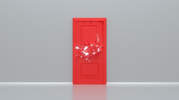 Porte rouge cassée sur mur blanc