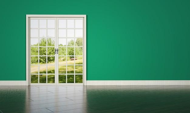 Porte de la salle blanche sur fond de mur vert vide
