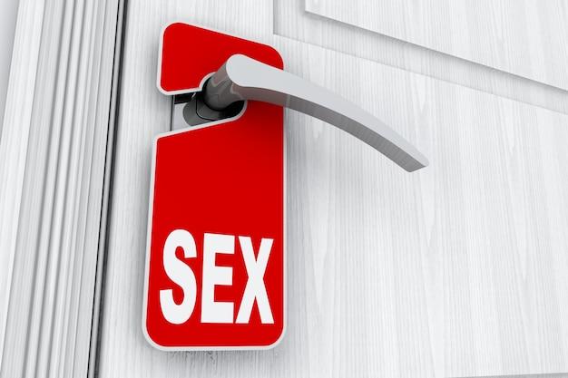 Porte avec signe sexuel sur ne pas déranger tag gros plan extrême. rendu 3d