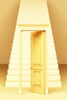 Porte de style classique ouverte devant les escaliers