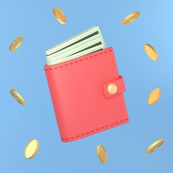 Portefeuille avec argent liquide, sac à main rouge et argent.