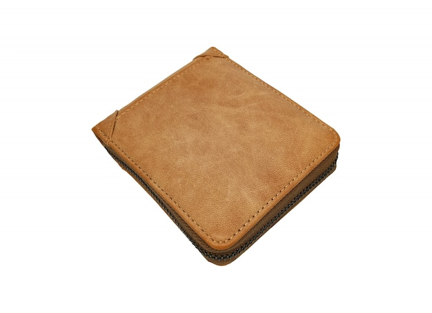 Portefeuille en cuir marron isolé