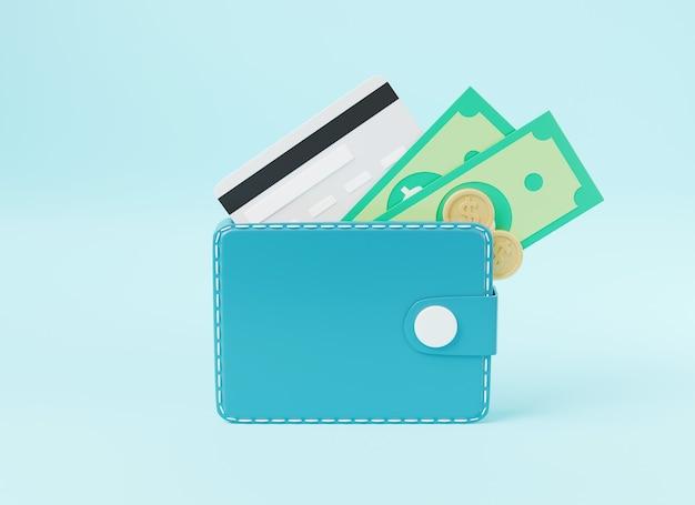 Portefeuille en cuir avec des pièces de cartes de crédit et des billets de banque à l'intérieur de l'illustration de rendu 3d de l'icône