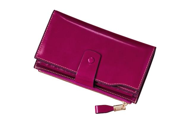 Portefeuille en cuir pour femme isolé rose magenta grand sac à main fermé