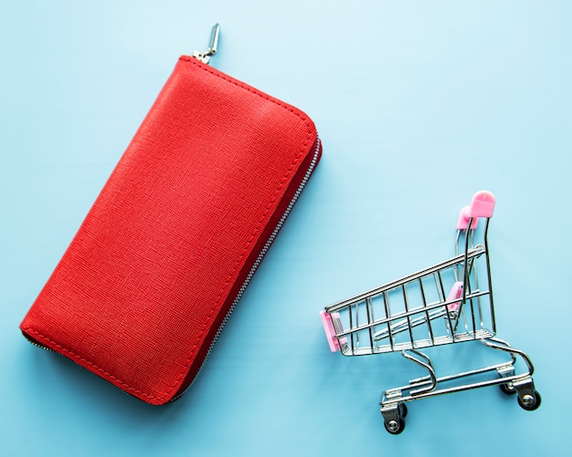 Portefeuille femme en cuir rouge