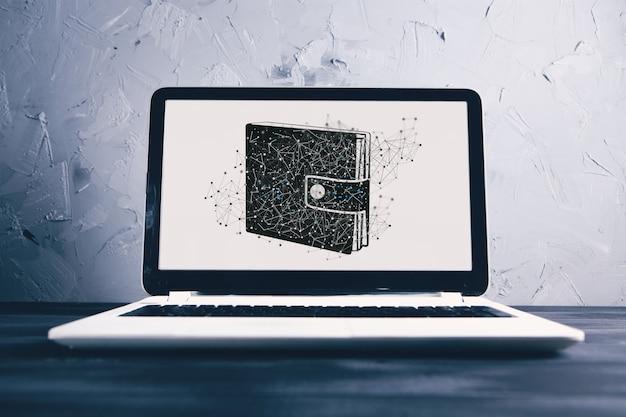 Portefeuille sur ordinateur portable. dépôt en ligne