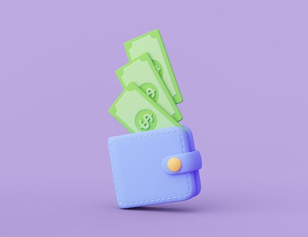 Portefeuille avec pièce d'un dollar tombant dedans