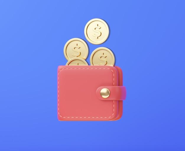 Portefeuille avec des pièces d'or tombant