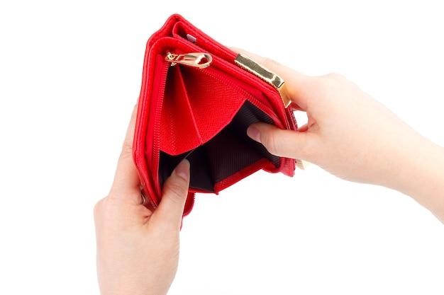 Portefeuille vide isolé sur blanc