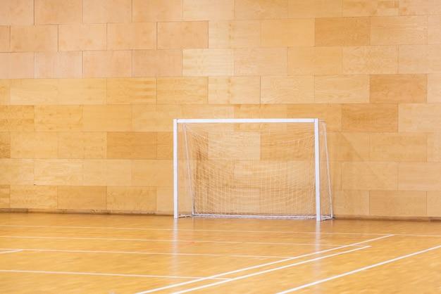 Portes pour mini football. salle de handball dans un terrain de sport moderne