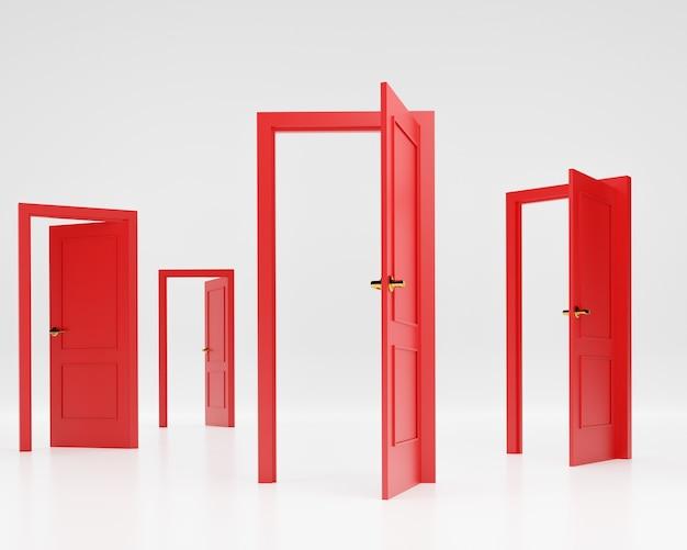 Portes rouges ouvertes