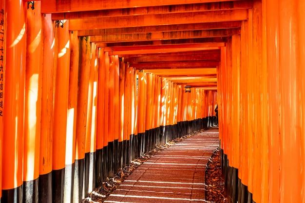 Portes torii rouges dans le sanctuaire fushimi inari à kyoto, japon