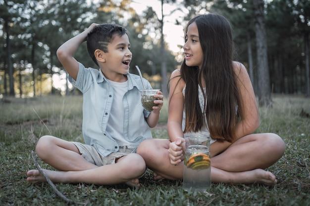 Portrait d'adorables enfants profitant d'un agréable moment à la campagne en buvant du tererãƒâƒã'â©.