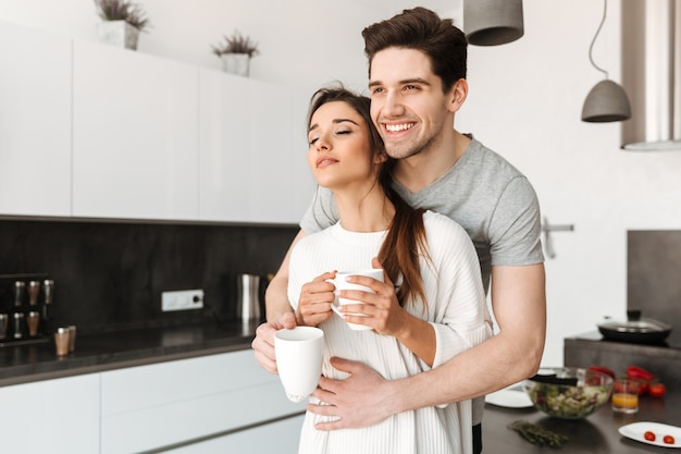 Portrait, aimer, jeune, couple, boire, café