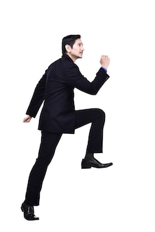 Portrait, asiatique, homme affaires, monter escalier