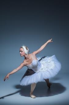 Portrait de la ballerine dans le rôle d'un cygne blanc sur fond bleu