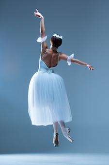 Portrait de la ballerine sur mur bleu