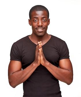 Portrait, de, beau, jeune, noir, africaine, sourire, homme