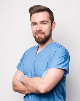 Portrait, de, beau, mâle, infirmière
