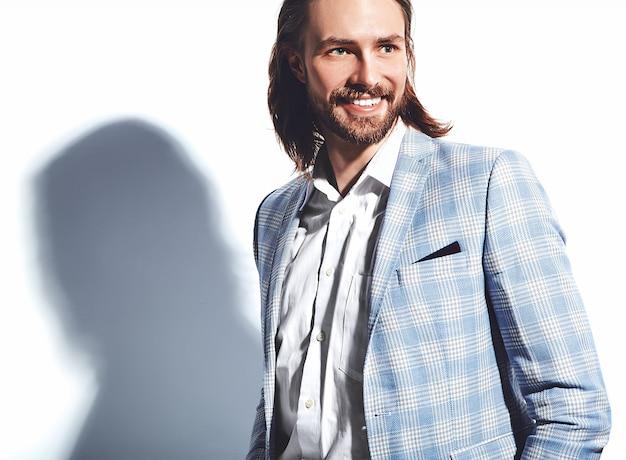 Portrait, beau, mode, élégant, hipster, homme affaires, modèle, habillé, élégant, bleu clair, complet